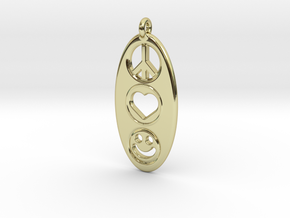 Peace Love Happiness in 18k Gold