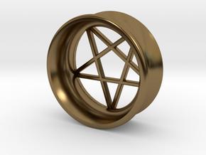 Pentagram Ear Plug in Polished Bronze