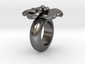 T667 flower pendant charm for leather bracelet in Polished Nickel Steel