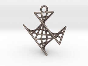 crux_pendant (small) in Polished Bronzed Silver Steel