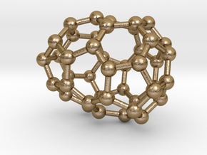 0248 Fullerene C42-27 c2 in Polished Gold Steel