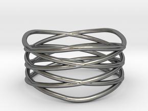 Triple Loop Ring (8) in Fine Detail Polished Silver