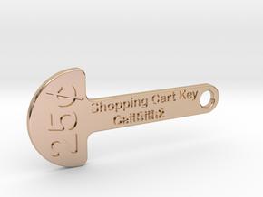 Quarter Shopping Cart Key in 14k Rose Gold Plated Brass