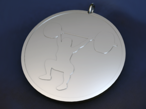 Girl Overhead Squat Pendant in Fine Detail Polished Silver