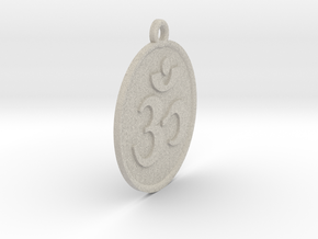 "2.1"" Om Zen Meditation Medallion/Pendant (5.5cm) in Natural Sandstone"