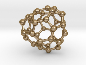 0250 Fullerene C42-29 c1 in Polished Gold Steel