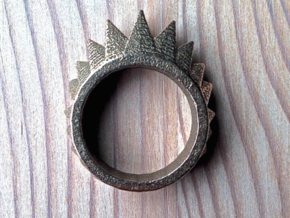 """Nonderso"" Ring - Size Small in Polished Bronzed Silver Steel"