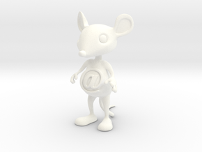 Tiny @Belly Mouse in White Strong & Flexible Polished