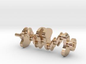 Motor part. crankshaft in 14k Rose Gold Plated Brass