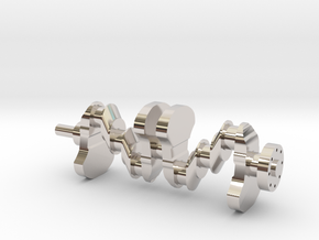 Motor part. crankshaft in Rhodium Plated Brass