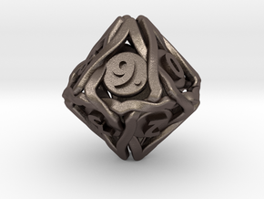 'Twined' Dice D10 Spindown Die (18 mm) in Polished Bronzed Silver Steel