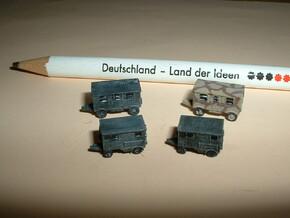 German Wehrmacht Trailers Set 1 1/285 6mm in Smooth Fine Detail Plastic