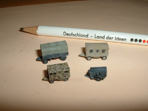German Wehrmacht Trailers 1/285 6mm in Smooth Fine Detail Plastic