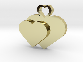 Heart2heart Pendant in 18k Gold Plated Brass