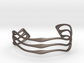 Bracelet Waves #2  in Polished Bronzed Silver Steel