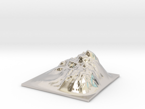 Mountain Landscape 1 in Rhodium Plated Brass