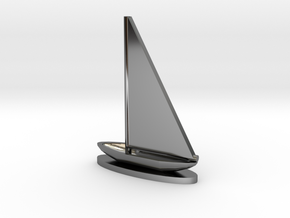 Sailboat in Fine Detail Polished Silver