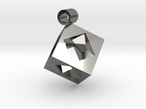 Cube Pendent in Fine Detail Polished Silver