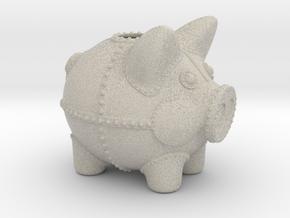 Steampunk Piggy Bank 4 Inch Tall in Natural Sandstone