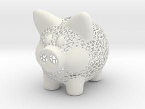 Peek A Boo Piggy Bank 4 Inch Tall in White Natural Versatile Plastic