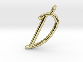 D in 18k Gold Plated Brass