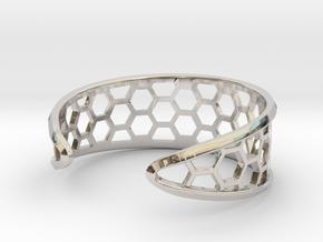 Cuff Bracelet, Honeycomb Mesh in Rhodium Plated Brass