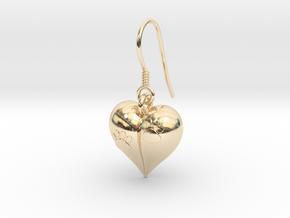 Pet Paw Heart Earrings in 14k Gold Plated Brass