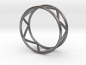 Zig Zag Thumb Ring in Polished Nickel Steel
