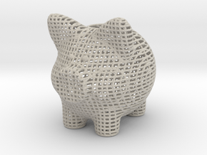 Wire Frame Piggy Bank 2 Inch Tall in Sandstone