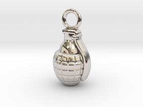 Grenade in Rhodium Plated Brass