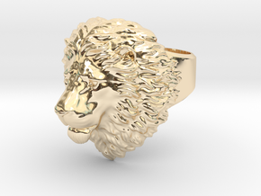 Calm Lion Ring in 14K Yellow Gold