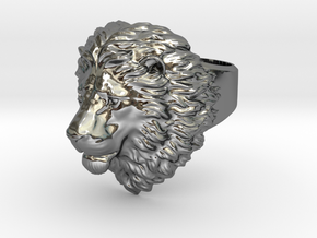 Calm Lion Ring in Fine Detail Polished Silver