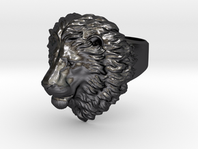 Calm Lion Ring in Polished and Bronzed Black Steel
