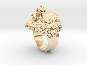 Aggressive Lion Ring in 14K Yellow Gold: 11.5 / 65.25