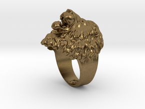 Aggressive Lion Ring in Raw Bronze: 11.5 / 65.25