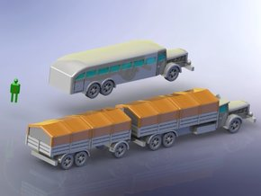 German VOMAG Bus, Truck and Trailer 1/220 Z-Scale  in Smooth Fine Detail Plastic