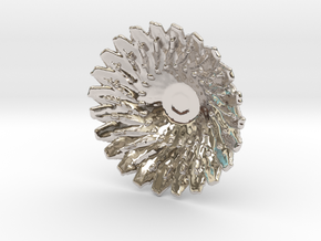 Sunflower Pendant with Baille in Platinum