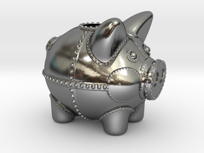 Steampunk Piggy Bank 2 Inch Tall in Polished Silver