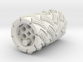 LEGO®-compatible Mecanum wheels in White Natural Versatile Plastic