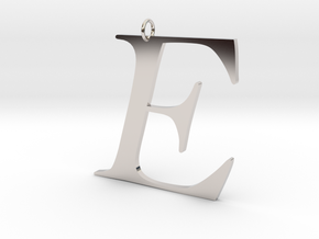 E in Rhodium Plated Brass