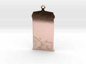 Customisable TARDIS Pendant in 14k Rose Gold Plated Brass