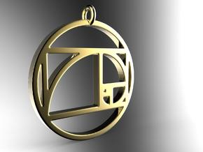 Golden Ratio Spiral Pendant in 14k Gold Plated Brass