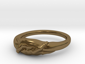 Rome Handshake Ring Size(US)-6 (16.51 MM) in Polished Bronze