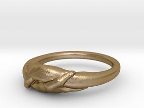 Rome Handshake Ring Size(US)-7 (17.35 MM) in Polished Gold Steel