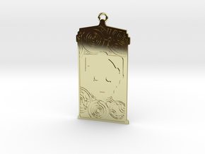 TARDIS Pendant with Cyberman in 18k Gold Plated Brass