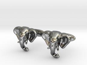 Elephant Cufflinks in Polished Silver