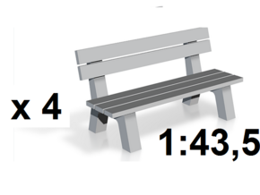 1:43,5 Spur 0 - 4x Parkbank / Park Bench - Spur /  in White Strong & Flexible