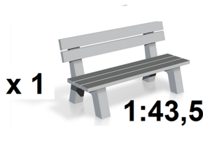 1:43,5 Spur 0 - Parkbank / Park Bench in White Strong & Flexible