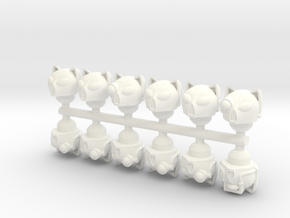 28mm scale Cat Helmets on Sprue in White Strong & Flexible Polished