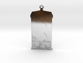 TARDIS Pendant with Ten in Fine Detail Polished Silver
